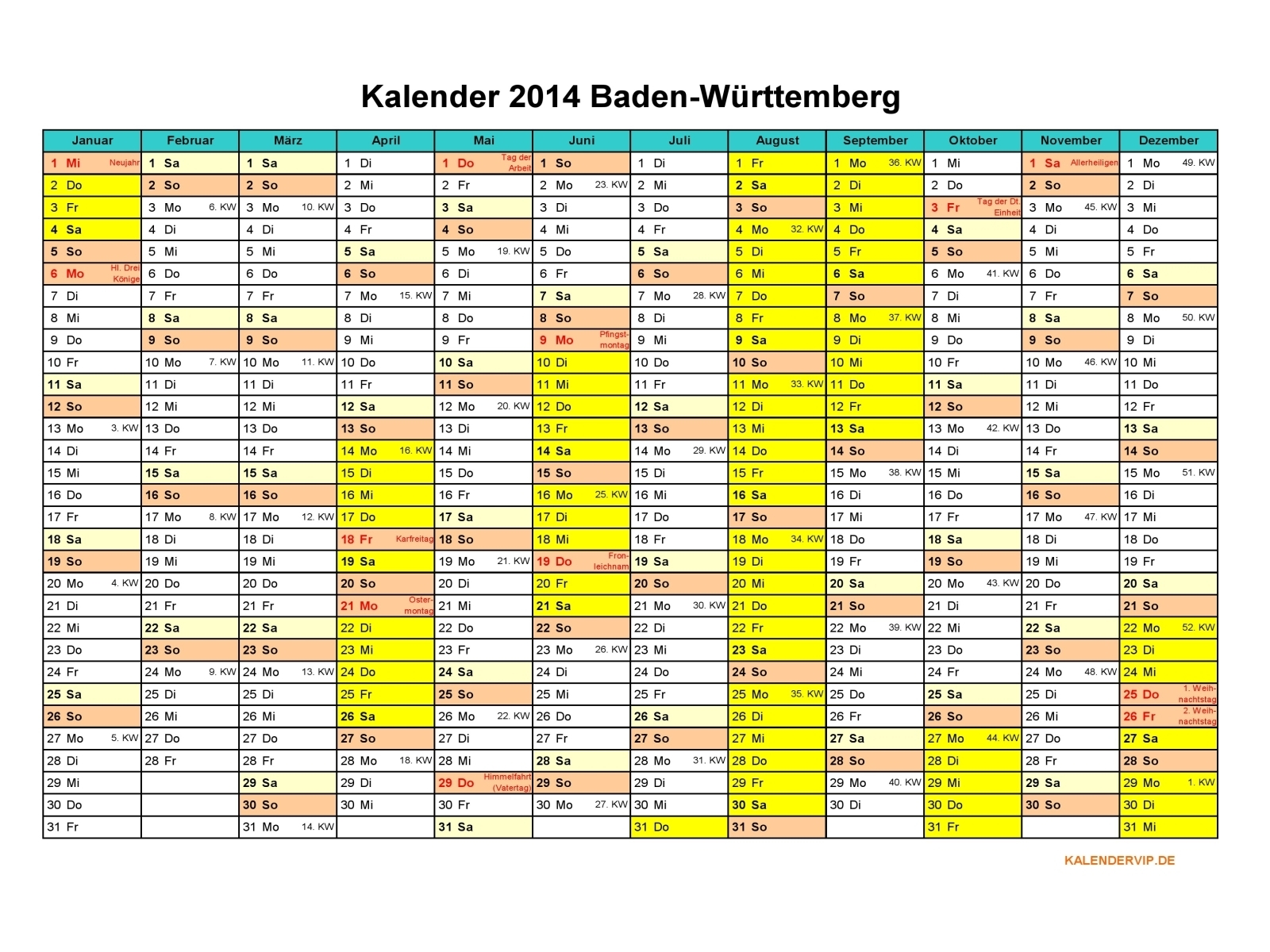 kalender 2014 baden w rttemberg kalendervip. Black Bedroom Furniture Sets. Home Design Ideas
