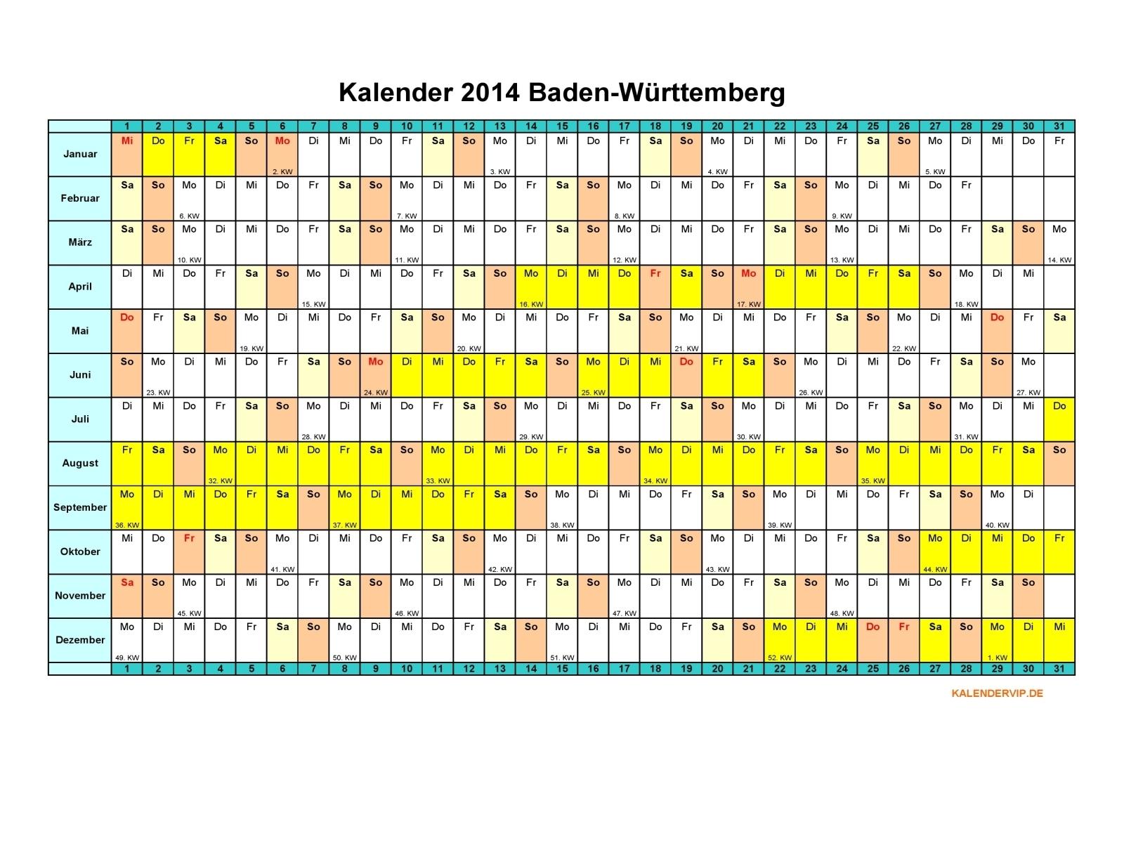 Kalender 2014 Baden-Württemberg - KalenderVIP