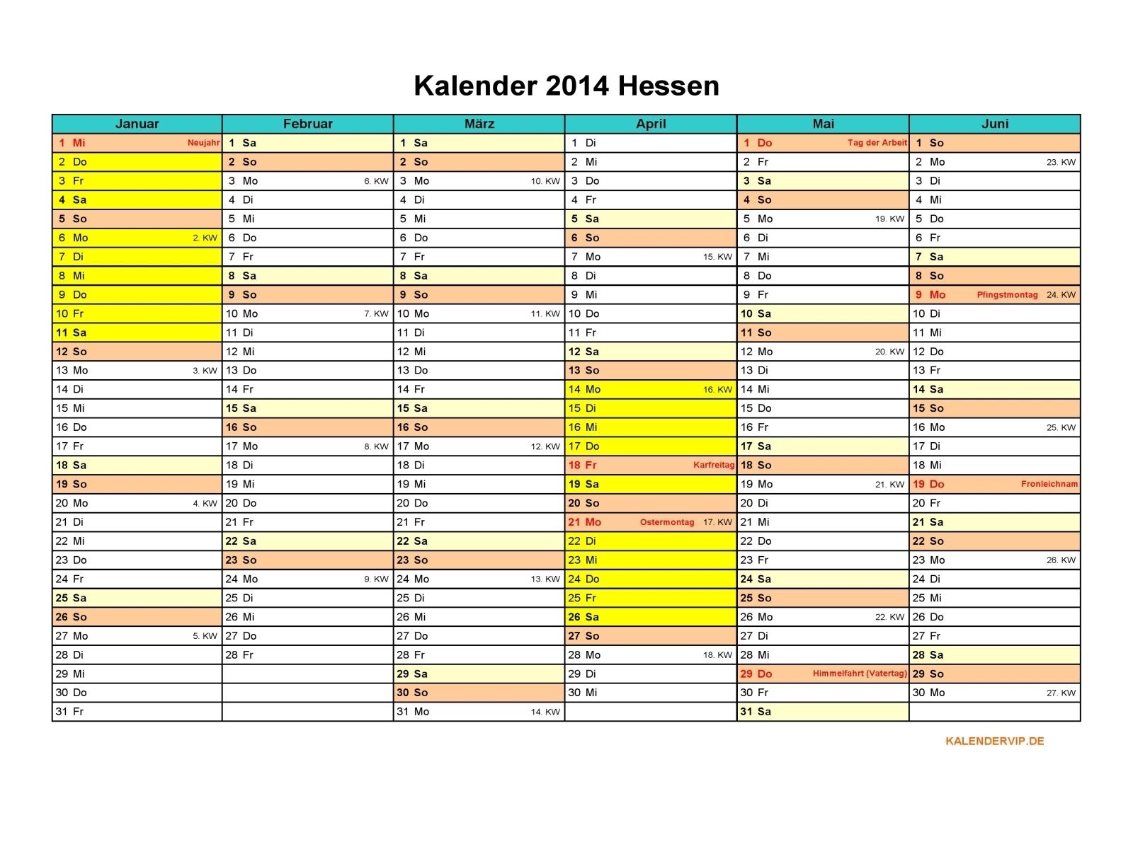 Kalender 2014 Hessen - KalenderVIP