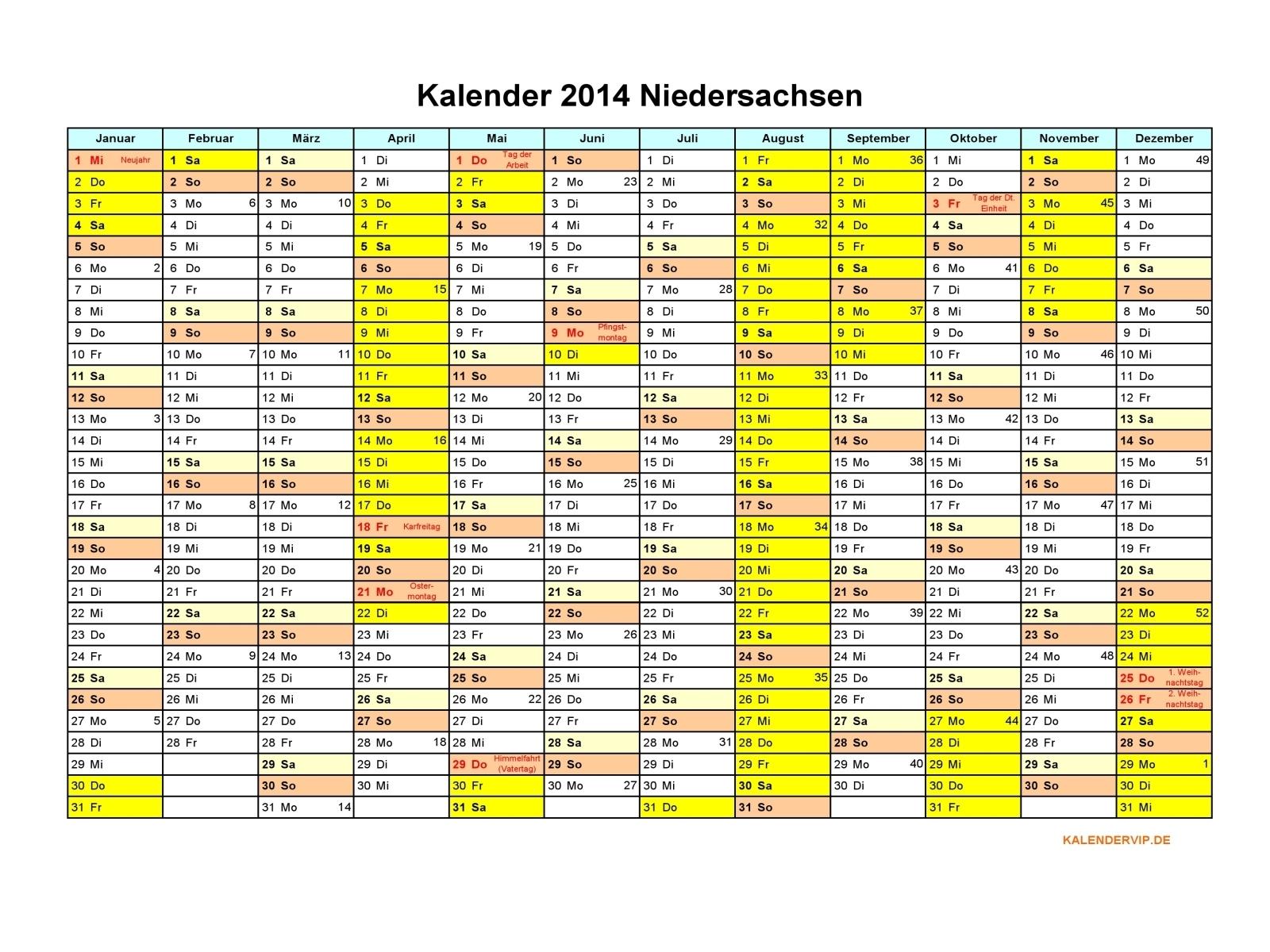 Kalender 2014 Niedersachsen Vorlage 1 für PDF, Excel, Word und JPG