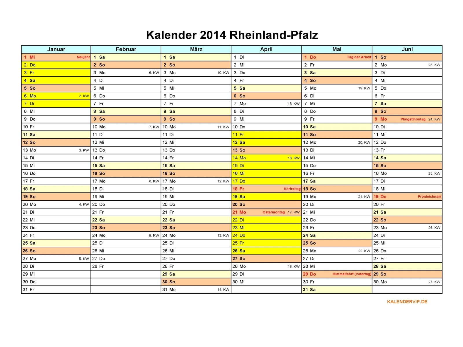 Kalender 2014 Rheinland-Pfalz - KalenderVIP