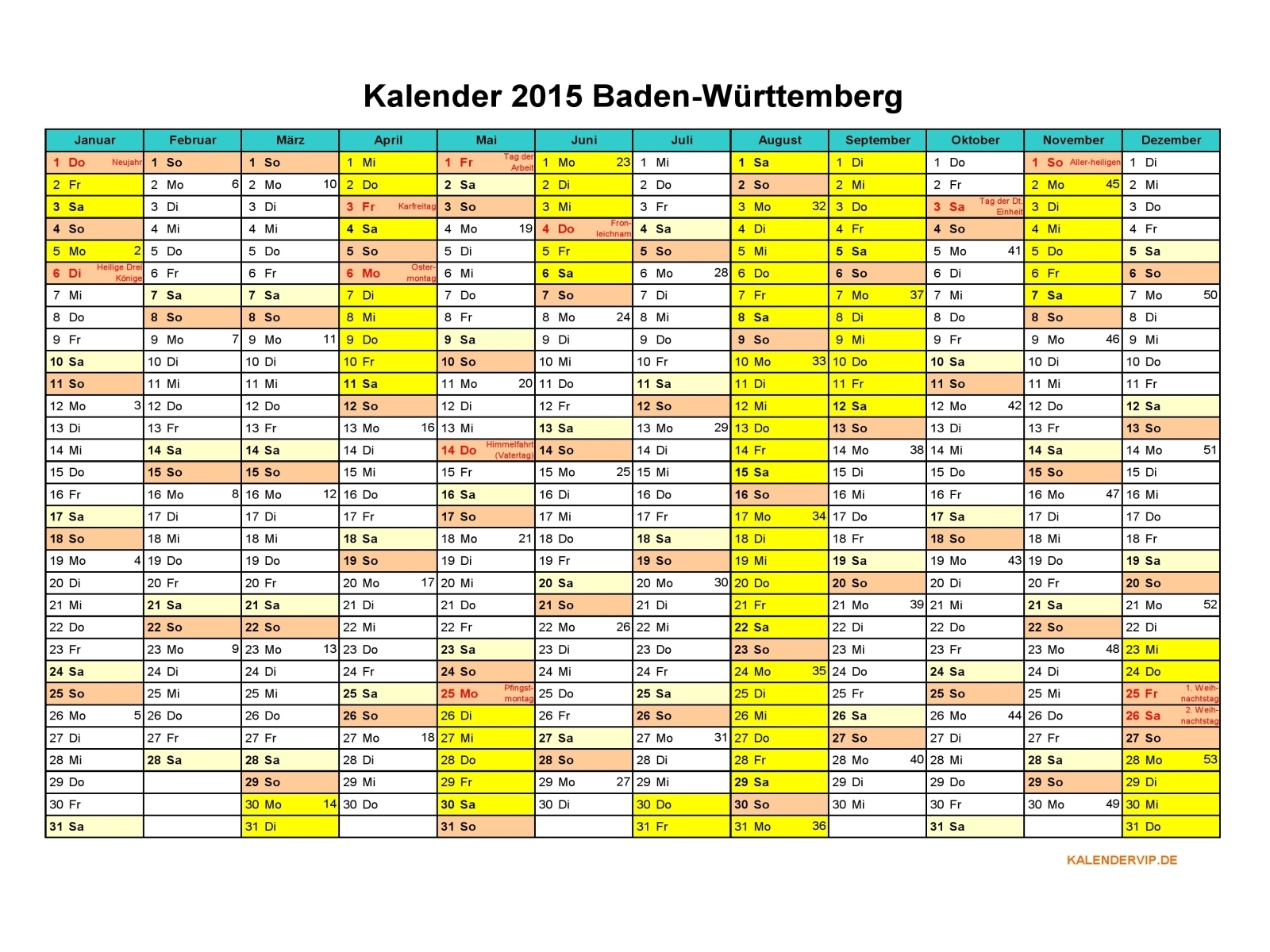 kalender 2015 baden w rttemberg kalendervip. Black Bedroom Furniture Sets. Home Design Ideas