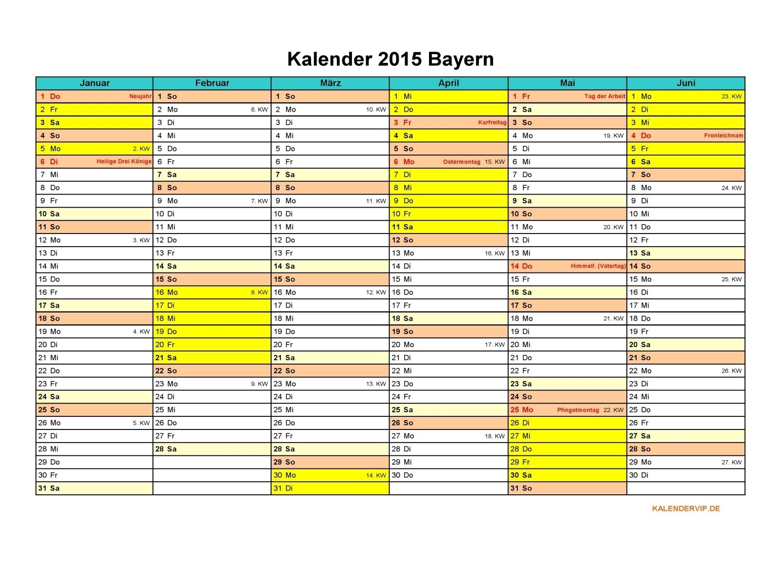 Kalender 2015 Bayern - KalenderVIP