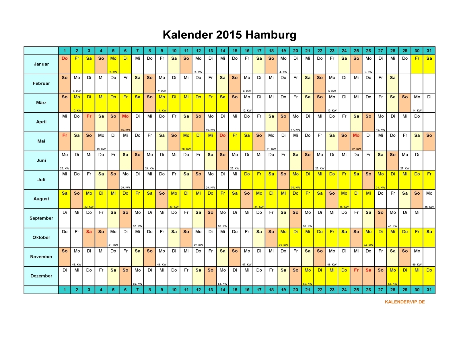 Kalender 2015 Hamburg - KalenderVIP