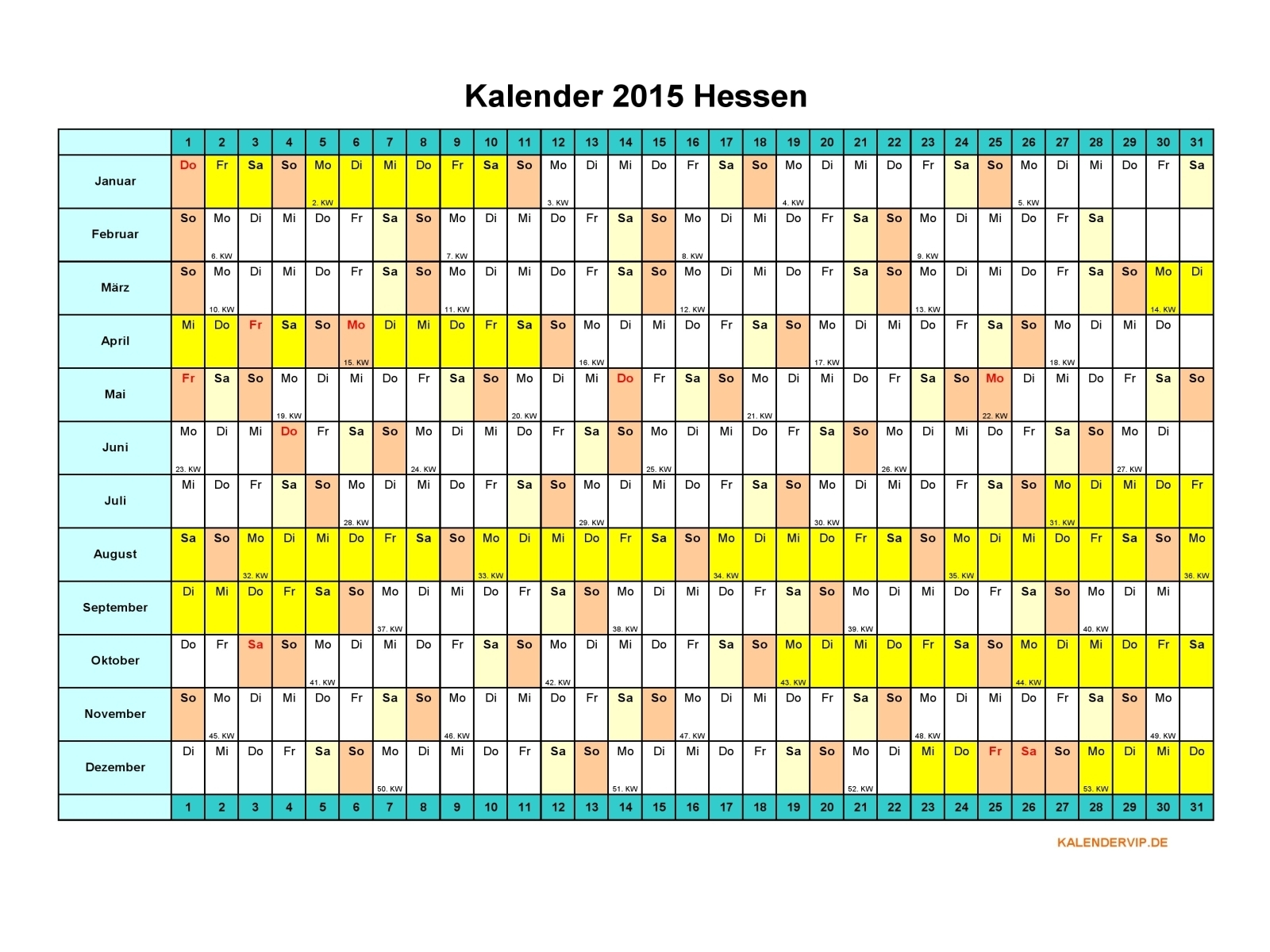 Kalender 2015 Hessen - KalenderVIP