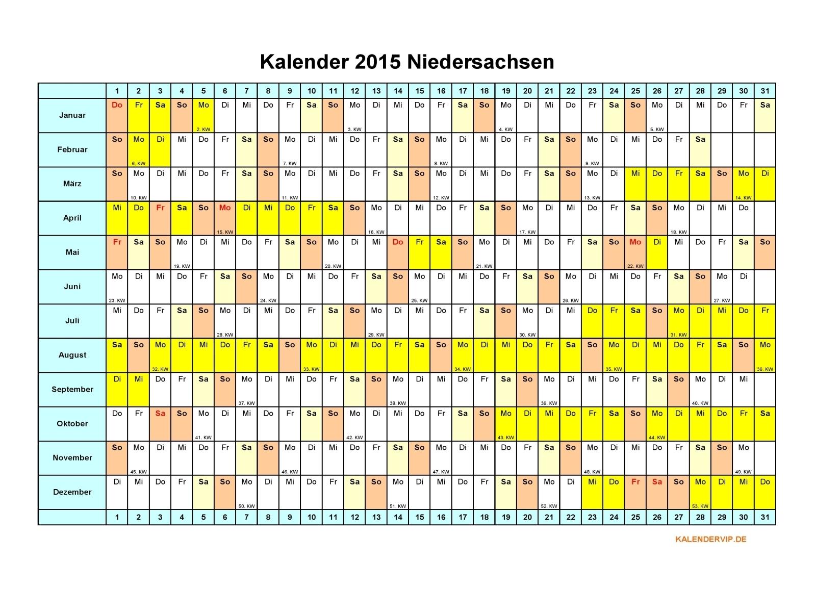 Kalender 2015 Niedersachsen - KalenderVIP