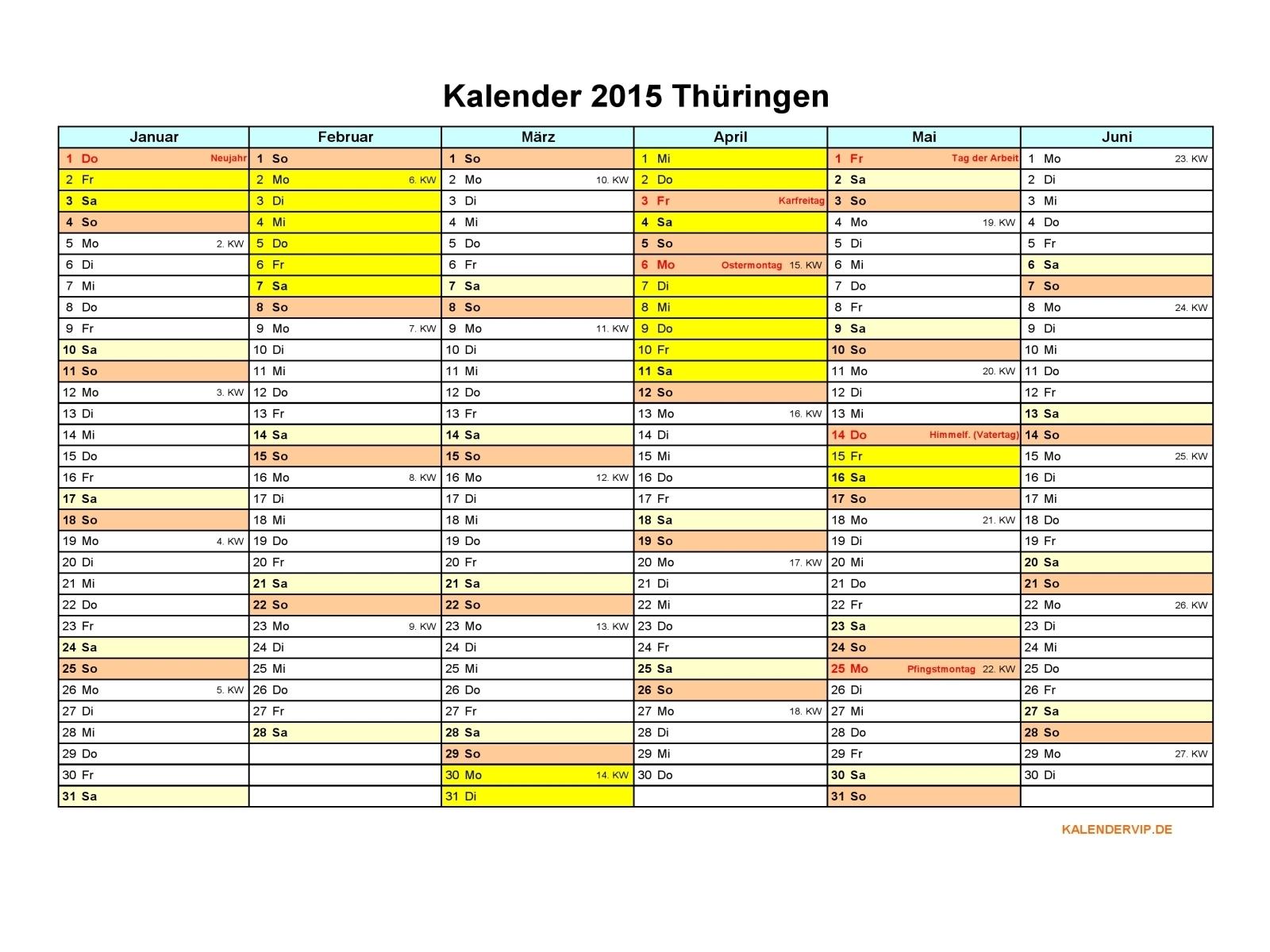 Kalender 2015 Thüringen - KalenderVIP